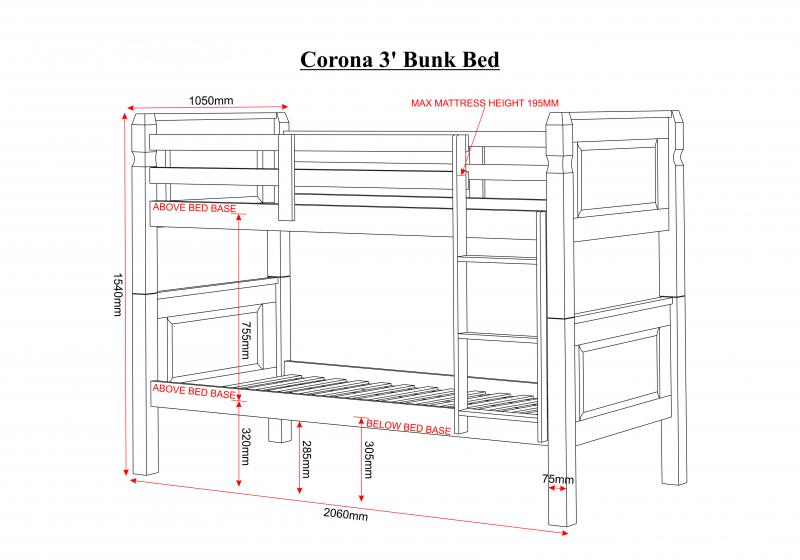 Ashley S Trade Carpet Centre Corona 3 Foot Bunk Bed In