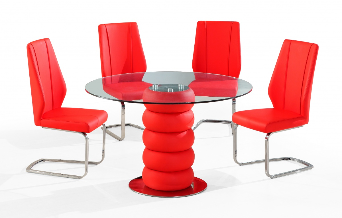 Ordinaire Majuba 4 Chair Dining Set In Red