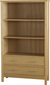 Oakleigh 2 Drawer Bookcase (High) in Natural Oak Veneer