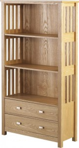 Ashmore 2 Drawer Bookcase (High) in Ash Veneer