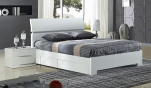 Widney 4 Drawer High Gloss White Double Bed