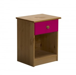 Verona 1 Drawer Bedside Antique With Fuschia Details