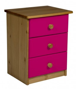 Verona 3 Drawer Bedside Antique With Fuschia Details