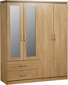 Charles 4 Door 2 Drawer Mirrored Wardrobe in Oak Effect Veneer with Walnut Trim