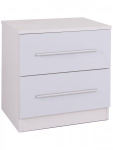 Toronto 2 Drawer Bedside in White
