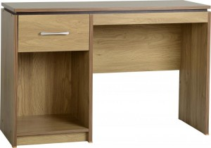 Charles Computer Desk in Oak Effect Veneer with Walnut Trim