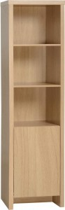 Kingston 1 Door Narrow Bookcase in Euro Oak