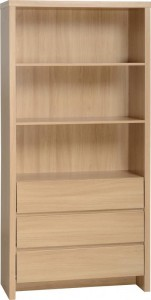 Kingston 3 Drawer Bookcase in Euro Oak