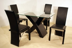 Arizona 6 Chair Dining Set in Black