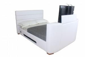 Balmain Faux Leather Double TV Bed
