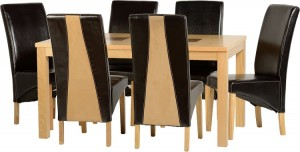 Wexford 59 inch Dining Set - G2 in Oak Veneer/Walnut Inlay/Expresso Leather/Sand Microsuede