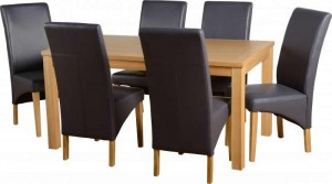 Belgravia 6 Chair Dining Set in Natural Oak Veneer/Charcoal Faux Leather