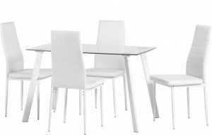 Abbey Dining Set in Clear Glass/White/White PU
