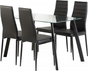 Abbey Dining Set in Clear Glass/Black/Black PU