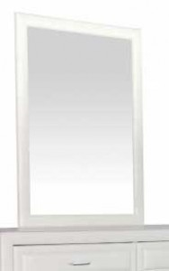 Longmore Mirror in White Faux Leather