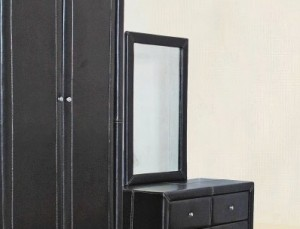 Odessa Mirror in Black Faux Leather