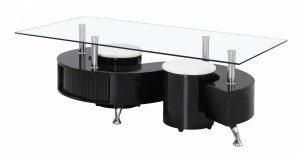 Boule Black High Gloss Coffee Table with Clear Glass Top
