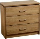 Charles 3 Drawer Chest in Oak Effect Veneer with Walnut Trim