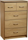 Charles 3+2 Drawer Chest in Oak Effect Veneer with Walnut Trim