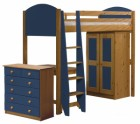 Verona High Sleeper Bed Set 3 Antique With Blue Details