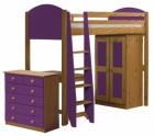 Verona High Sleeper Bed Set 3 Antique With Lilac Details