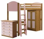 Verona High Sleeper Bed Set 3 Antique With Pink Details