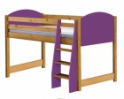 Verona Mid Sleeper Bed Antique With Lilac Details