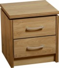 Charles 2 Drawer Bedside Chest in Oak Effect Veneer with Walnut Trim